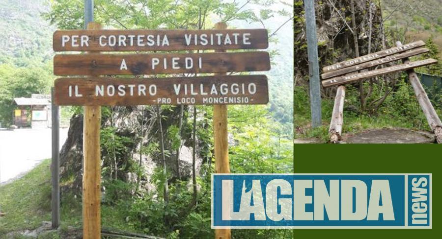 Montagna in Valsusa, il Comune di Moncenisio si fa bello con la segnaletica d'ingresso al paese